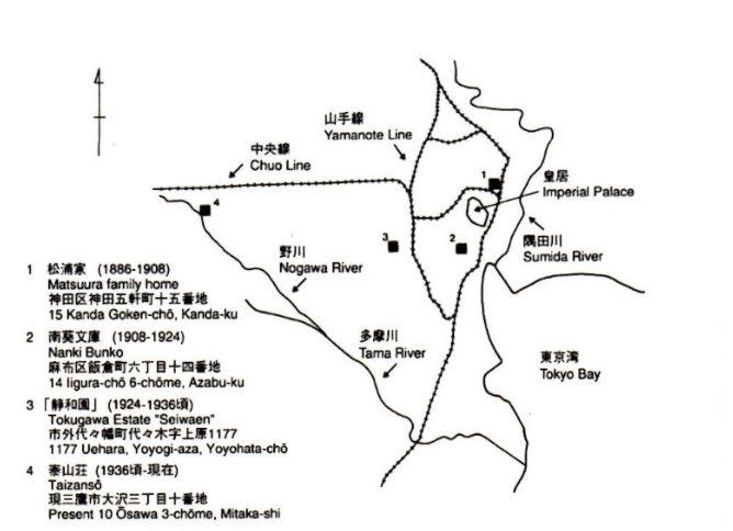 東京での一畳敷所在地 出典:ヘンリー・スミス『泰山荘―松浦武四郎の一畳敷の世界』