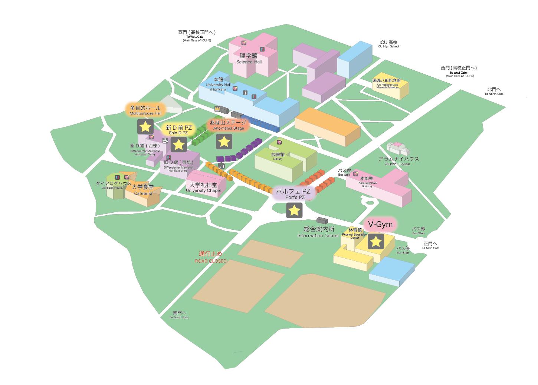 ICU祭のキャンパスマップ